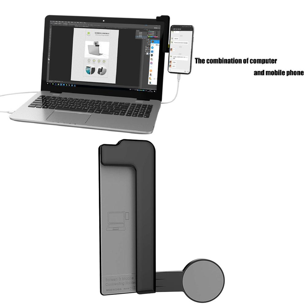 Multi Screen Support Laptop Side Mount Connects Mobile Phone Bracket Dual Monitor Display Clip Adjustable Phone Stand Holder