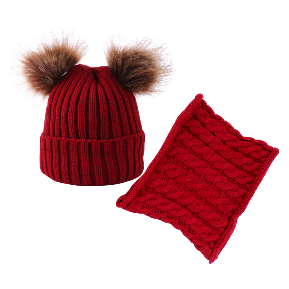 Two Sets Of New Double-ball Baby Cap And Scarf,Children's Caps And Scarves Are Popular In Europe In Autumn And Winter Of 2019