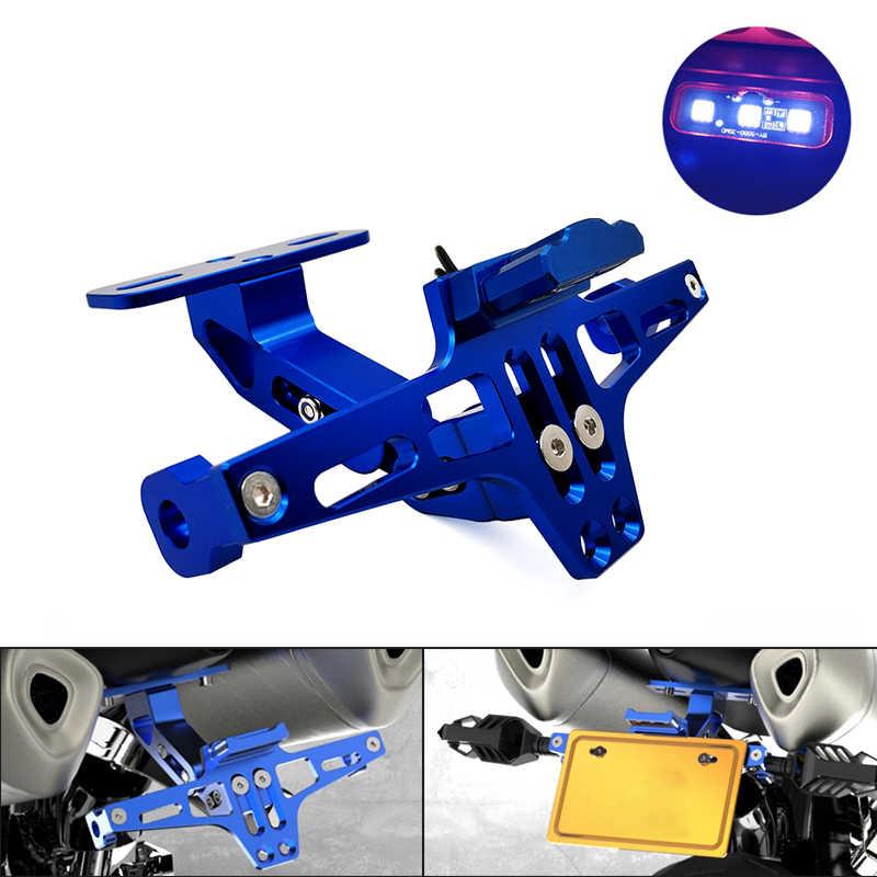 אופנוע מתכוונן זווית לוחית רישוי מחזיק סוגר CNC אלומיניום עבור Yamaha DT 230 125 MT07 MT09 MT10 R1 3 קוואסאקי z750