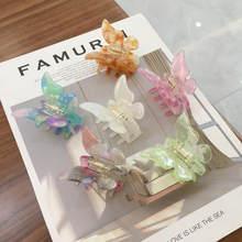 Acetat Harz Haar Klaue Süße Fee Schmetterling Haarnadel Clip Gradienten Tie-Dye Farbige Styling Werkzeuge Barrettes für Frauen Mädchen