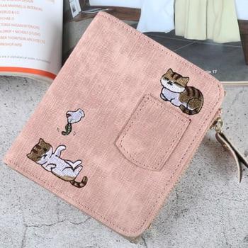 2020 Luxury Embroidery Cat Wallet Women Purse Coin Pocket Kawaii Leather Women Wallets Money Bag Card Holder Girls Clutch