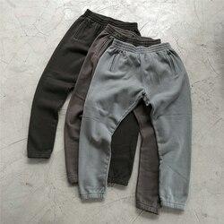 Kış Kanye West ağır pamuk polar Sweatpants yüksek kalite Hip Hop sıkıntılı koşucu pantolonu