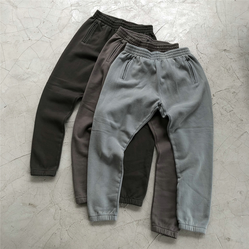 Winter Kanye West Heavy Cotton Fleece Sweatpants High Quality Hip Hop Distressed Jogger Pants