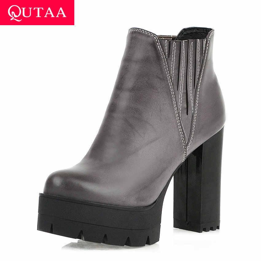 QUTAA 2020 Platformu PU Deri kayma Sonbahar Kış Rahat Kadın Ayakkabı moda Kare Yüksek Topuk Yuvarlak Ayak yarım çizmeler Size34-43