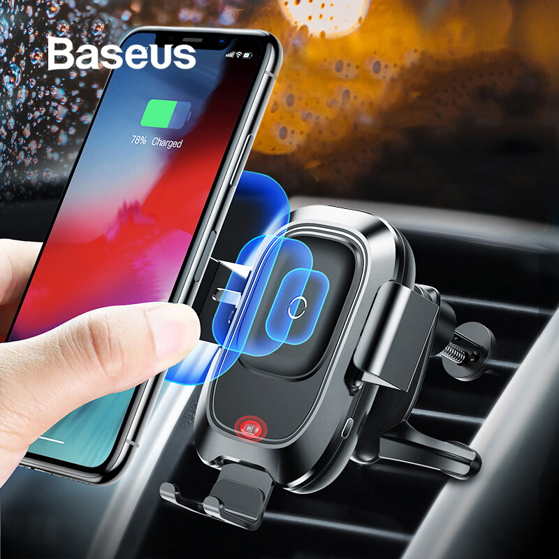 Baseus 10W Wireless Charger Car Phone Holder For IPhone XR Samsung Note 9 S9 Smart Sensor Wireless Car Phone Charger Holder
