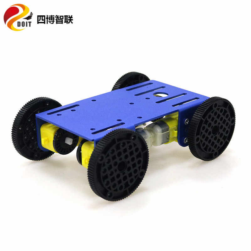 SZDOIT montar C101 Metal inteligente 4WD Robot tanque del chasis del coche Kit 4-Drive Mobile de plataforma robótica 4 piezas TT motor para bricolaje Arduino