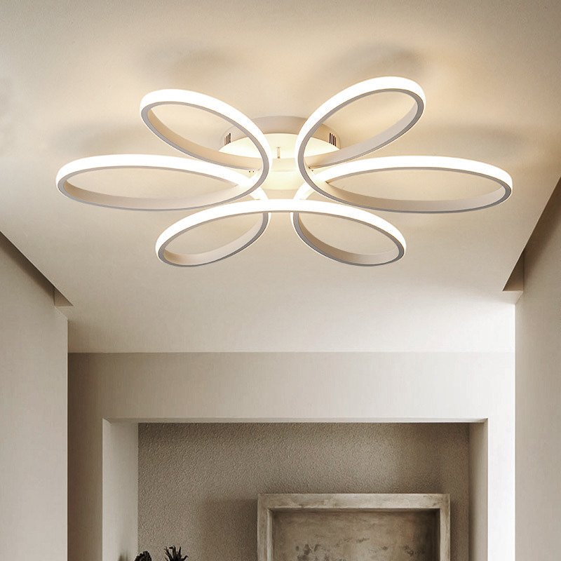 Luces de techo LED modernas para sala de estar dormitorio AC85 265V color blanco/Negro control remoto iluminación interior lámpara de techo - 3