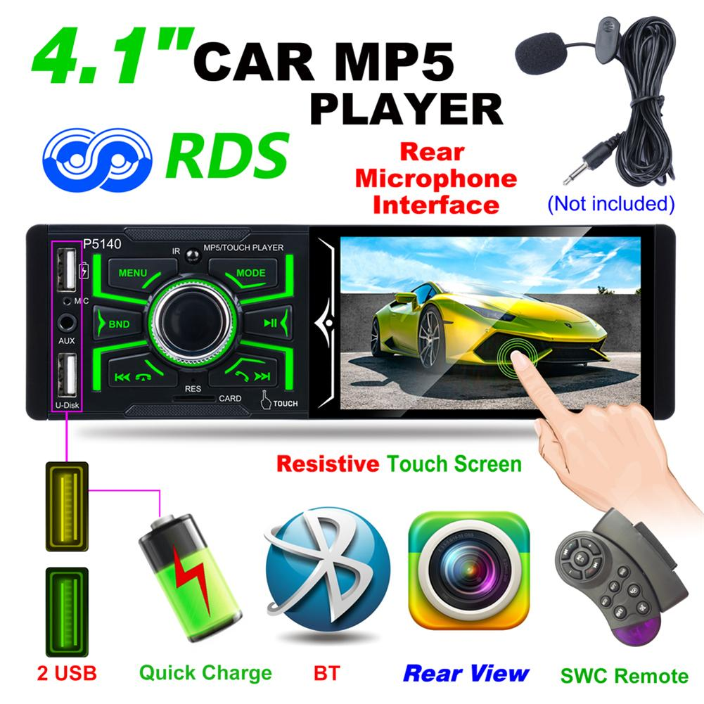 4.1 Inch MP5 Auto Media Stereo Player 1 Din Dual USB Bluetooth Audio Car Radio Bluetooth Touch Screen Support Rearview Camera