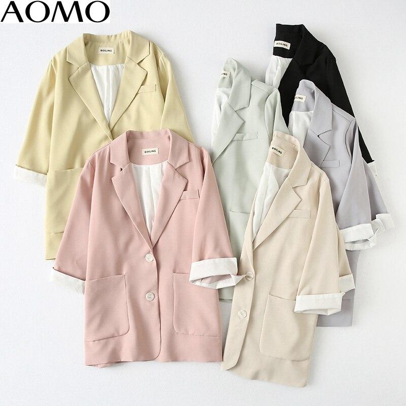 AOMO Fashion  Women Candy Color Blazer Female Three Quarter Sleeve Elegant Jacket Ladies Work Wear Blazer Formal Suits YU78A