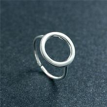 Женские открытые кольца с круглым кольцом из стерлингового серебра