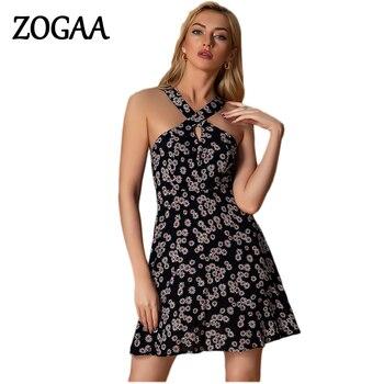 Sexy Halter estampado de flores vestido Mini negro Slim Fit talla S a XXL Club de noche de verano ropa para fiesta para mujer