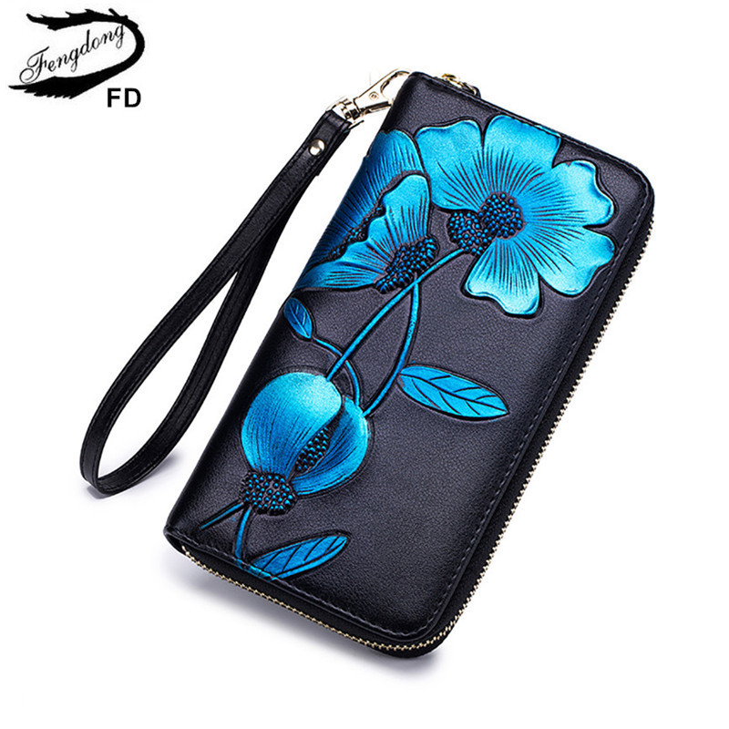 Fengdong Women Leather Wallet Flower Phone Bag Vintage Floral Purse Gifts For Girls Zipper Long Rfid Wallet Female Card Holder