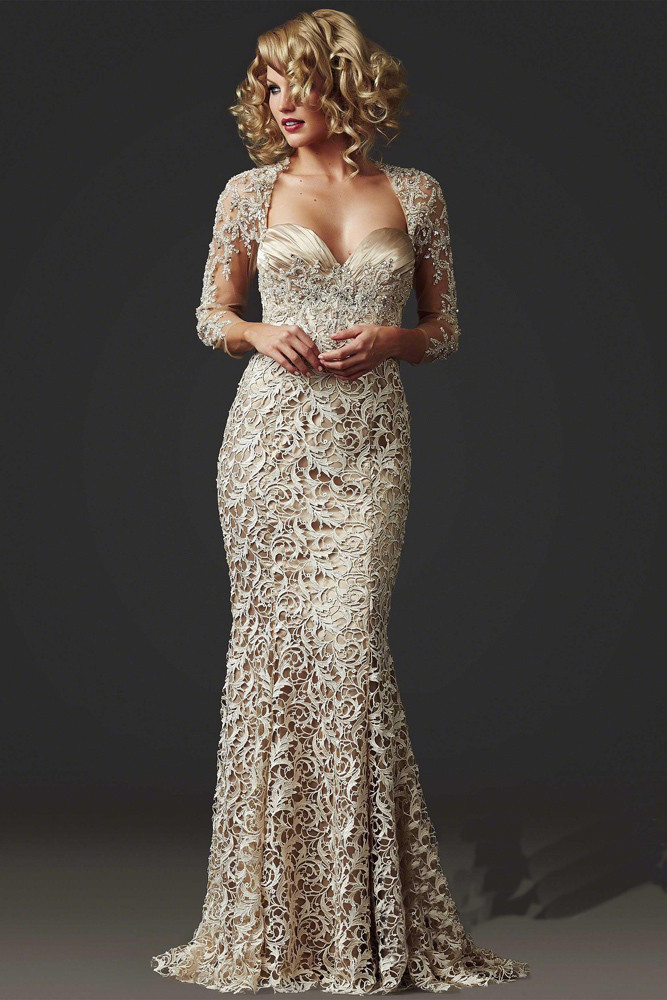 2020 Sheath Floor-Length Beaded Three Quarter Sleeve Elegant Open Back Formal Lace Evening Gown Mother Of The Bride Dresses