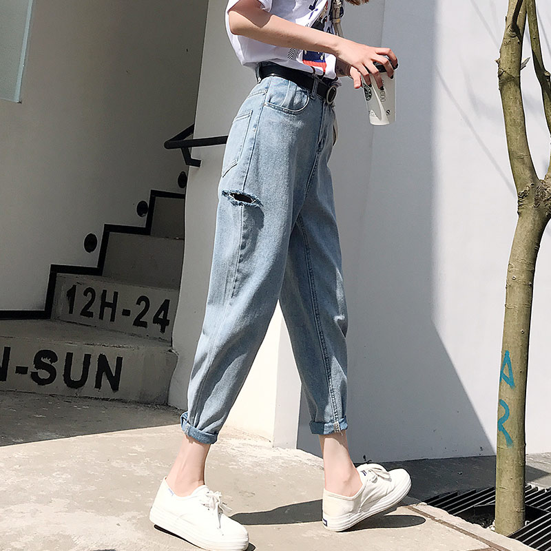 Mom high waisted jeans Vintage ladies boyfriend jeans for women  streetwear denim pants damaged casual pencil trousers korean