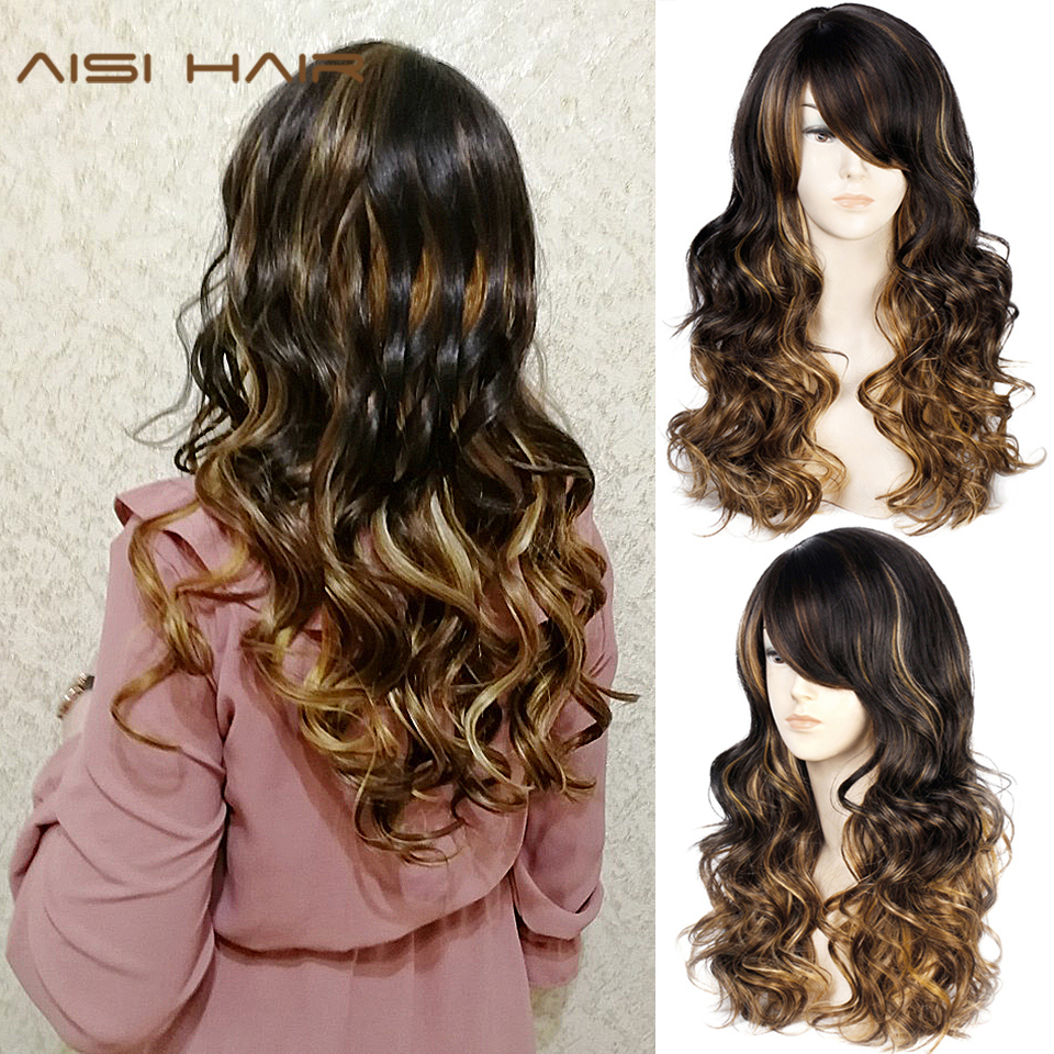Long Lavy Black Red Hair Mix Color Women Wigs Heat Resistant Synthetic Wigs With Bangs For Women African American Natural Hair