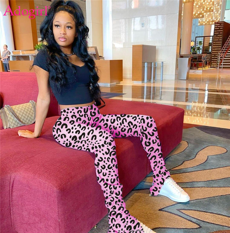 Adogirl Fashion Leopard Print Ruched Flare Pants Highly Stretchy Mid Waist Pleated Trousers Casual Leggings Stacked Sweatpants