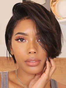 Wig Human-Hair-Wigs Lace-Front Pixie Cut Straight Brazilian Short Bob 13x4 Remy 130%Density
