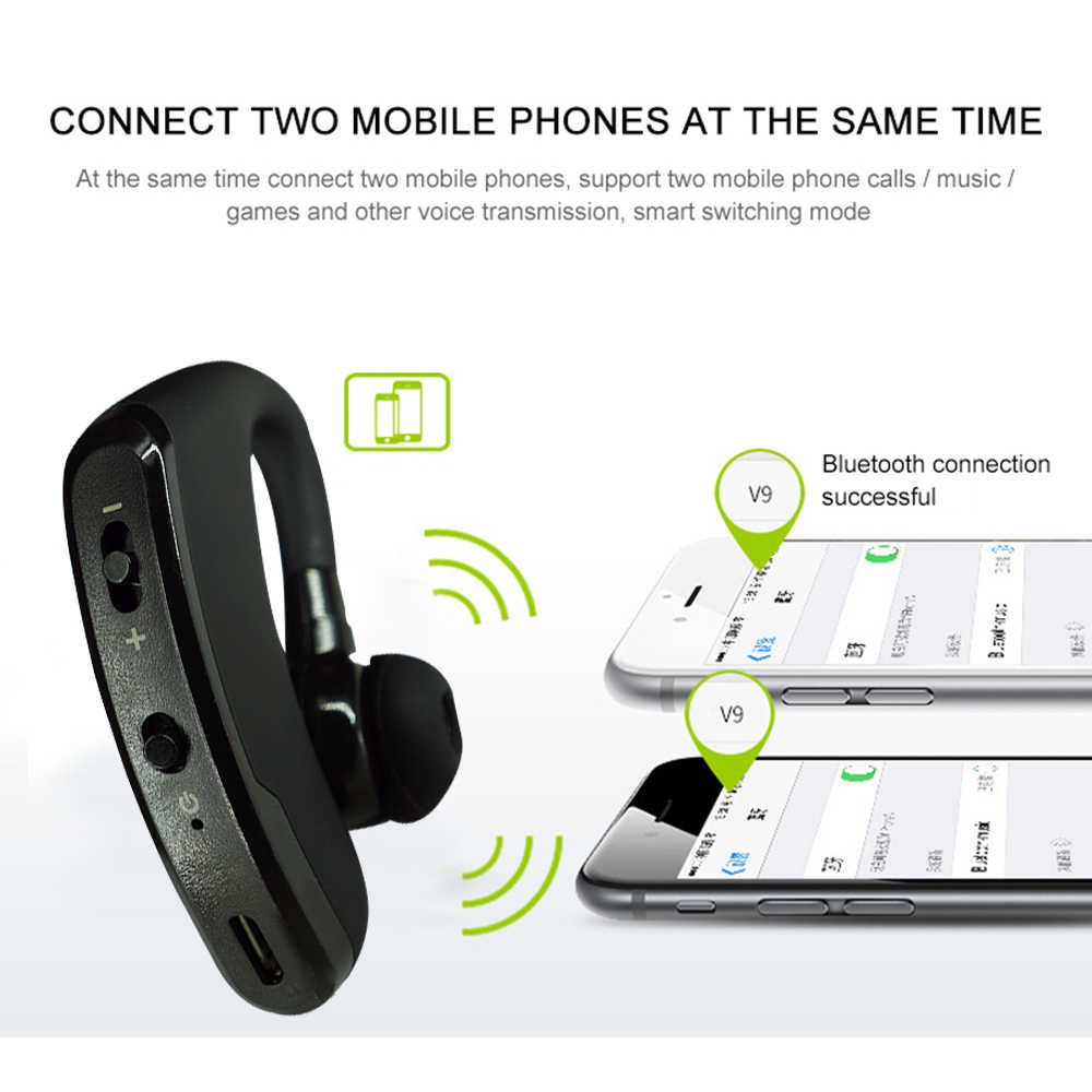 Faichoy V9-auriculares, inalámbricos por Bluetooth, auriculares manos libres con micrófono HD y micrófono para deportes de conducción