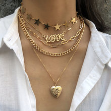 Hot New Multi Layer Love Heart Locket Necklace for Women Punk Gold/Silver Chain Necklace Hiphop Jewelry Female Fashion Jewelry(China)