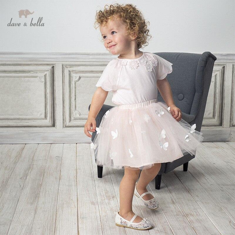 DB13974-1 Dave Bella Summer Baby Girls Fashion Floral Appliques Clothing Sets Kids Cute Short Sleeve Sets Children 2 Pcs Suit