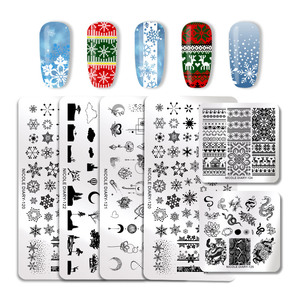 Image 5 - NICOLE DIARY Christmas Series Nail Stamping Plate Stamp Templates Rose Leaf Snake Image Printing Stencil Nail Art Tools