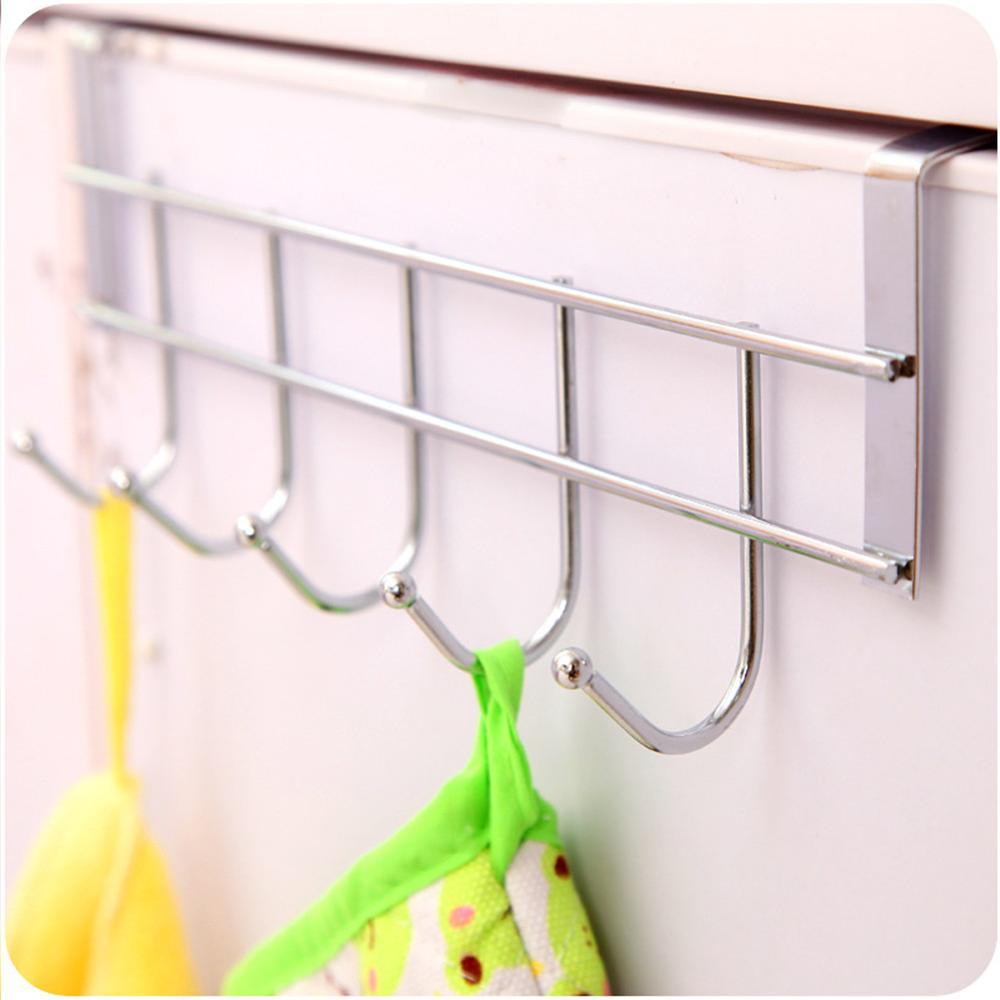 Silver  Five-Row  Stainless Steel  Hook Door-Back Traceless Hook  Clothes Hanger Hooks  Kitchen Bedroom  Door  Rack Towel Holder