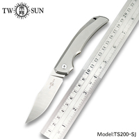TWOSUN knives One Solid TC4 Titanium M390 Pocket Folding SLIP JOINT Knife hunting knife outdoor camping survival tool EDC TS200
