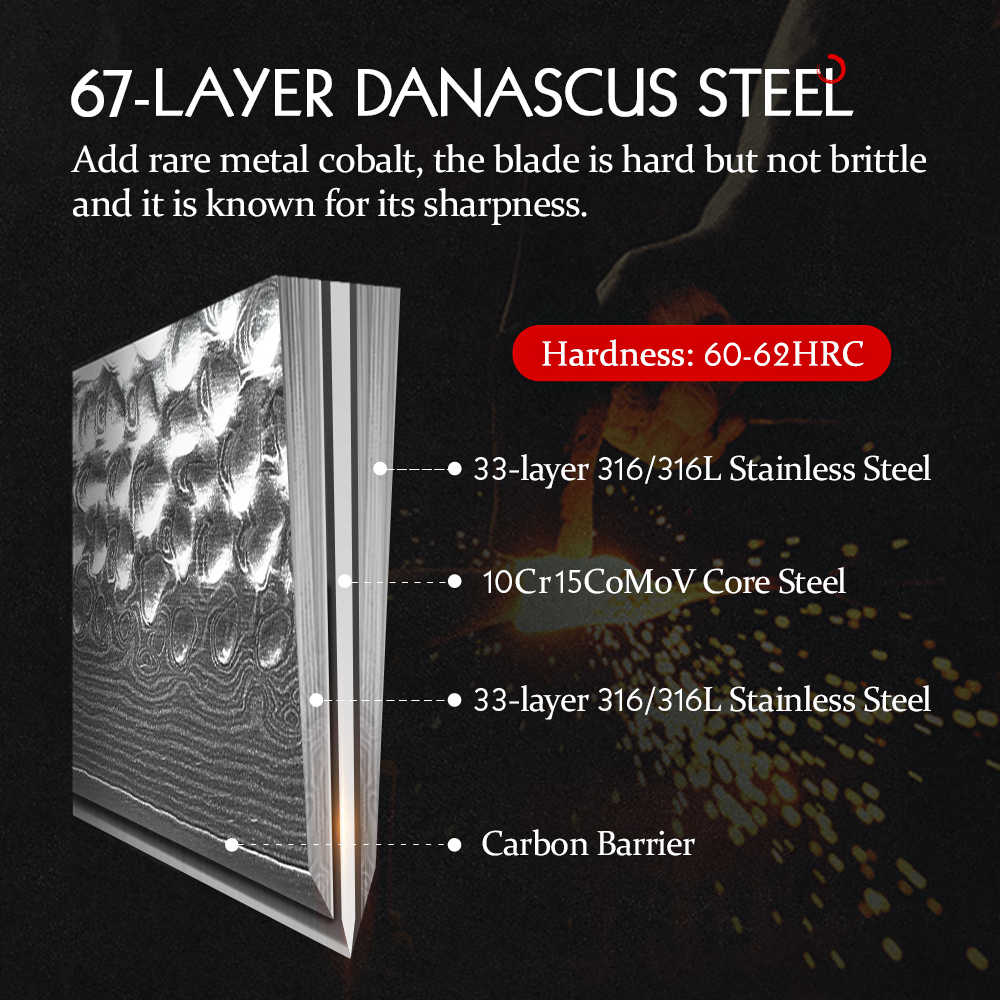 HEZHEN 7'' zoll Santoku Messer Berufs Japanischen Damaskus VG10 Stahl Fleisch Schneiden Werkzeuge Edelstahl Kochen Küche Messer