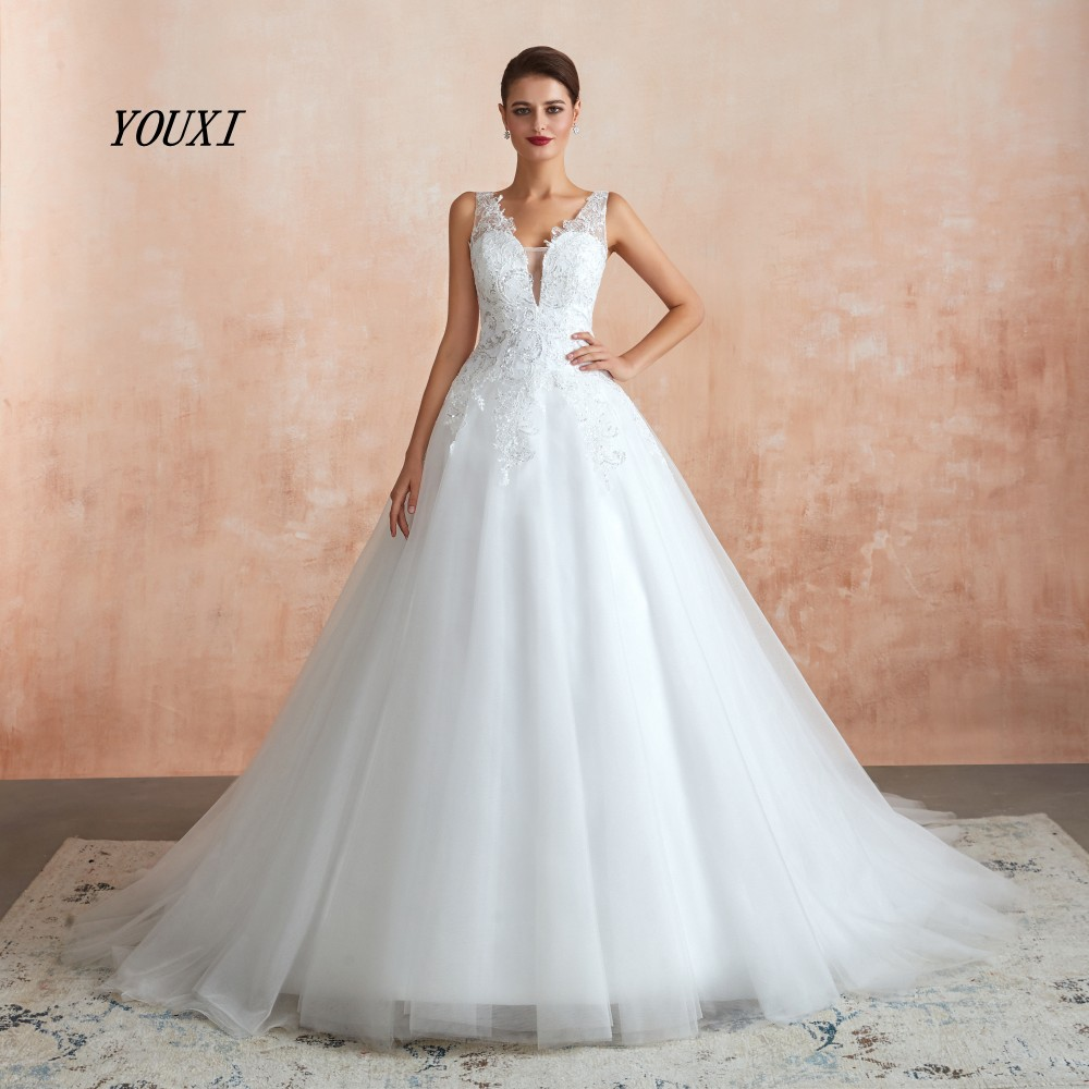 YOUXI Wedding Dress 2019 Ball Gowns Tulle Sequined Lace V-Neck Sheer Back Weding Bride Robe De Mariee