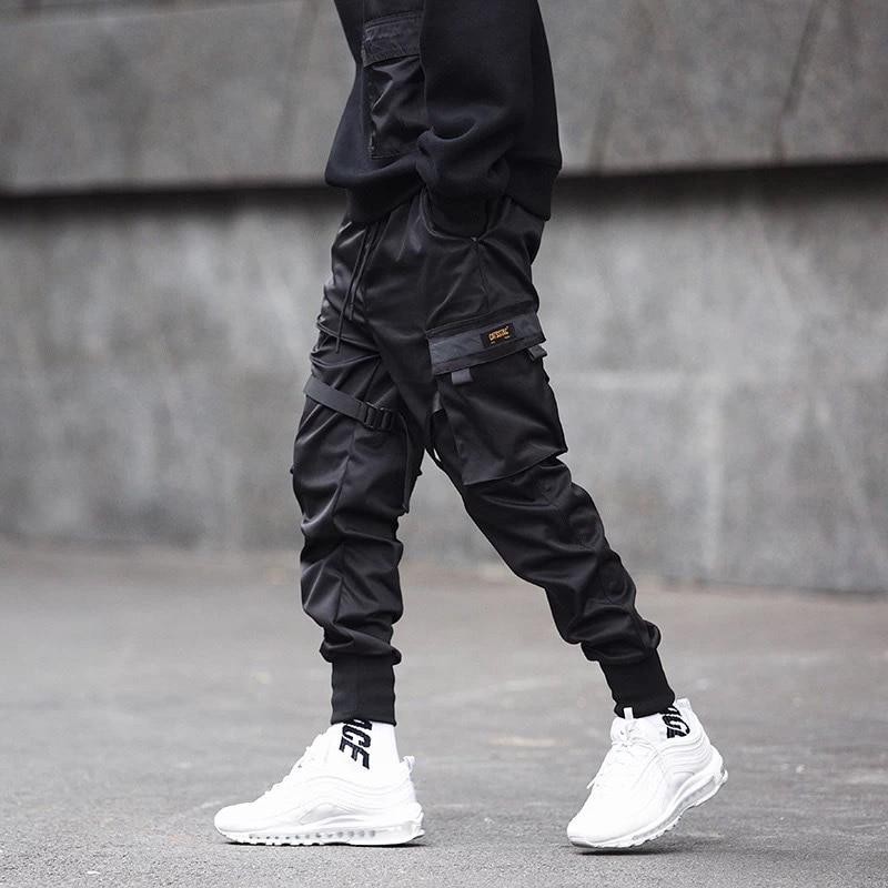 Fall 2020 hip hop casual ribbon men's side pocket harlan pants hip hop casual ribbon design men's jogging pants stylish street w