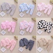 Комплект из плотного флиса для новорожденных мальчиков и девочек, Теплые Топы и штаны, пижама, одежда для сна, Новое поступление, Прямая поставка