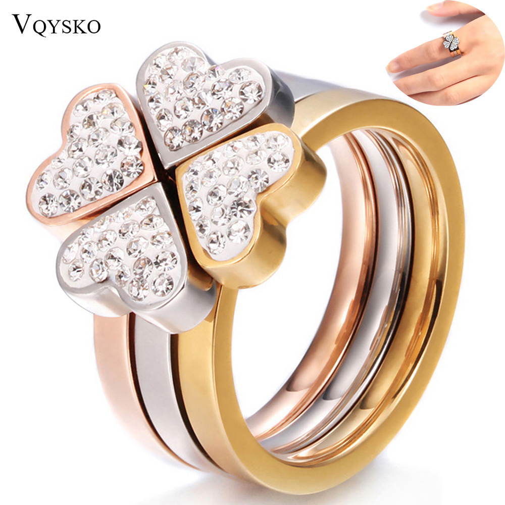 316L Stainless Steel Jewelry Unique 3in1 Heart Rings For Women Surgical Steel Nickle Free CZ Crystal Flower rings 2