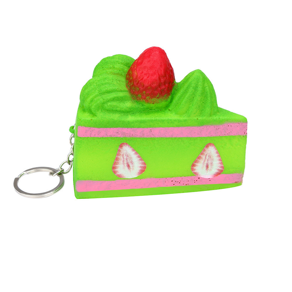 Squishy Strawberry Cake Slow Toys Decompression Stress Soft Squeeze Toys Children Funny Gadgets Bag Hanging Ornaments #A