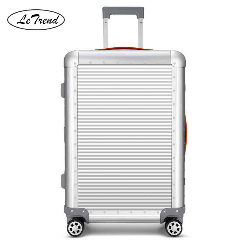 LeTrend 100% Aluminum-magnesium Alloy Rolling Luggage Spinner  Travel Bag Men Business Suitcase Wheels 20 Inch Cabin Trolley