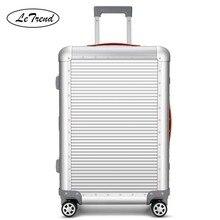 Letrend 100% alumínio liga de magnésio rolando bagagem spinner saco de viagem homem mala de negócios rodas 20 polegada carrinho de cabine