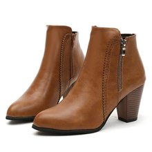 цены Woman ankle Boots for women Woman British Style Leather Zip Boots Martin Boots Autumn Winter 2019 New High-heeled Shoes