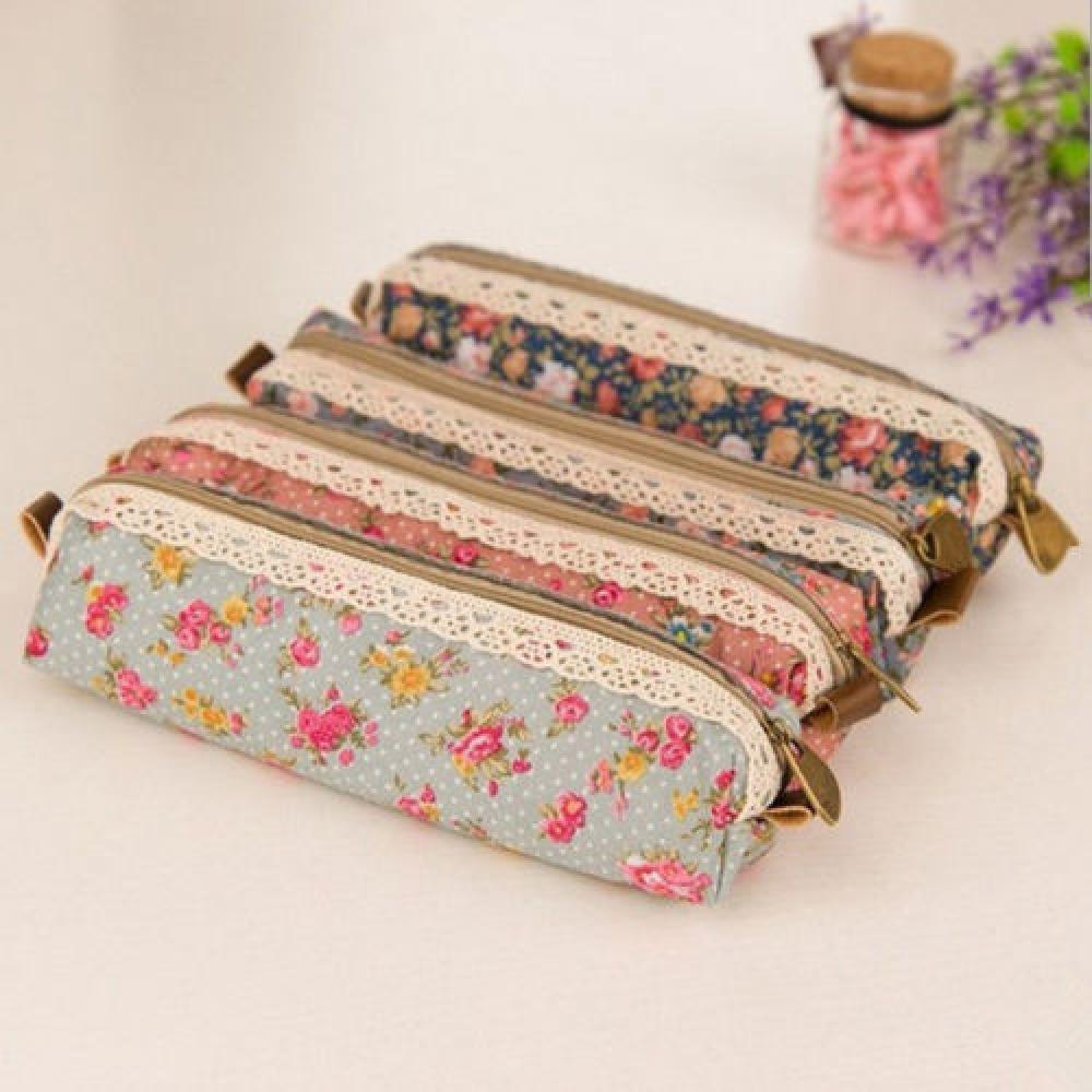 Fashion Mini Retro Flower Floral Lace Pencil Box Case Pen Bag Multi-Function Zipper Pencil Holder Bag School Supplies Stationery