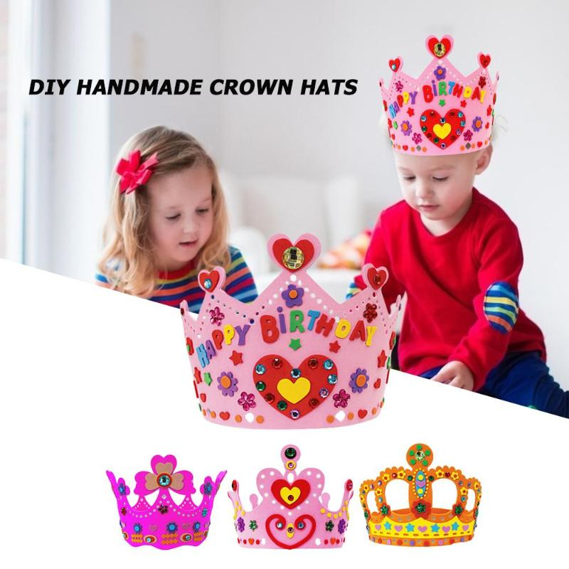DIY Craft EVA Creative Crown Hat Exercise Baby Thinking Judgment Ability Cultivate Confidence Kindergarten Art Party Decor Gift