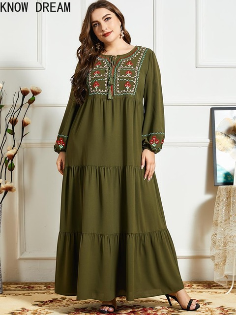 KNOW DREAM Women Fashion Comfortable Blue Embroidered Long Sleeve Multilayer Fold Army Green Dress Arab Robe 2