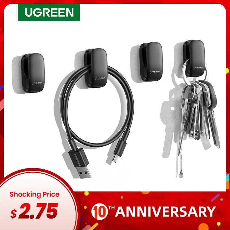 Ugreen Holder Hanger Hook 4pcs Organizer Holder Clip For Key Bag Car Office Headphone Charger Cable Management Car Cable Holder