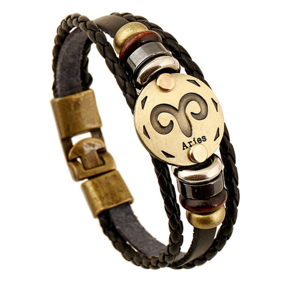 Constellation Leather Bracelet 12 Constellation Bracelet Hand-woven Men Women Leather Wristband Zodiac Jewelry Birthday Gifts image