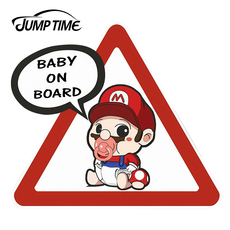 JumpTime 13cm X 11.7cm Cute Mario Baby On Board Car Stickers Super Hero Marvel Car Styling For Window Bumper Warning Decals