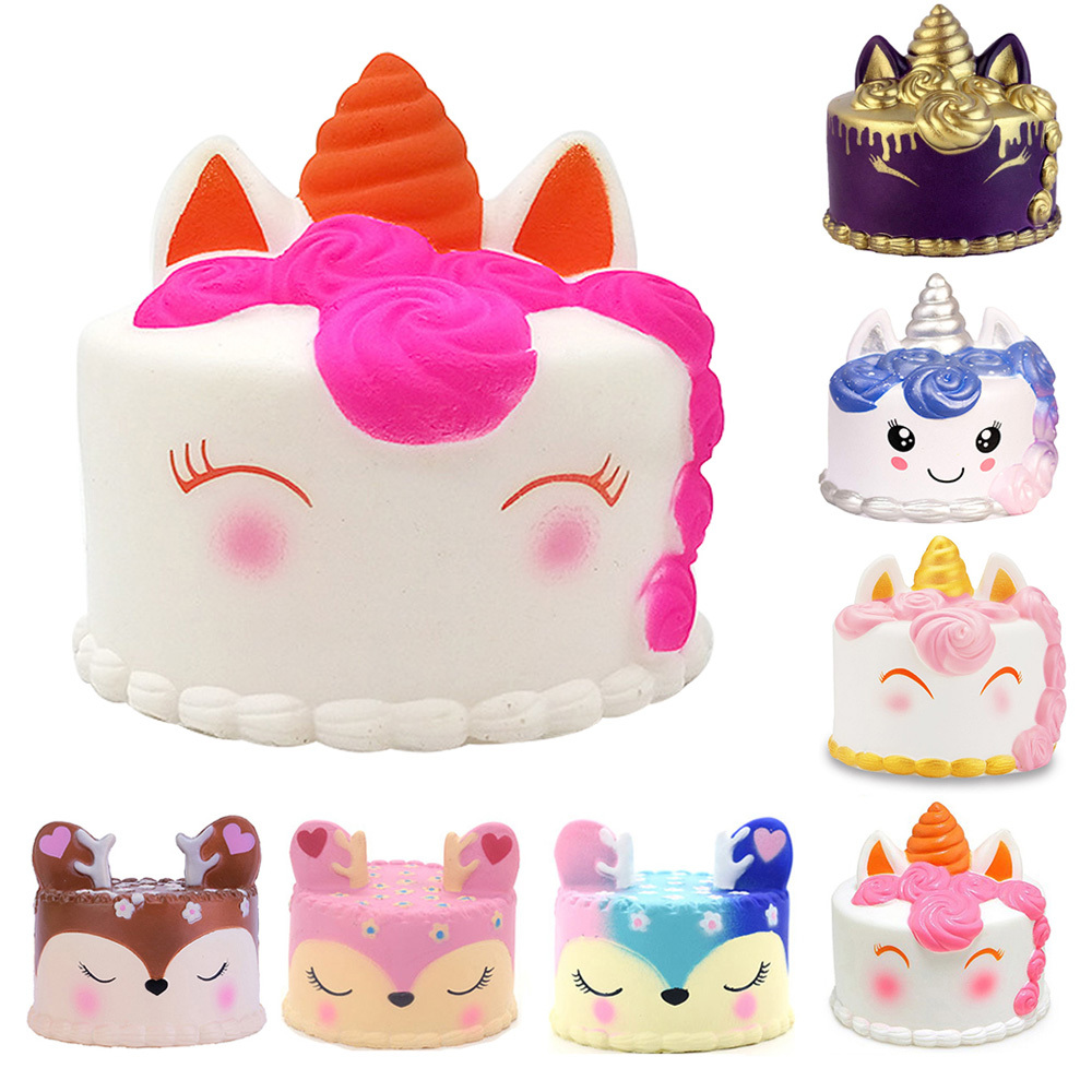 Kawaii Unicorn Deer Cake Squishy Food Slow Rising Soft Squeeze Toys For Children Cream Scented Relieve Stress Funny Toys Gift