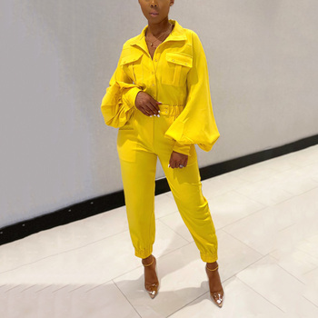 Jumpsuits For Women 2020 Yellow Lantern Sleeve Turn Down Collar Fashion Causal Sport Elegant Long Ladies Clothes Hot