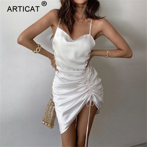 Articat Drawstring Ruched Satin Bodycon Dress Women Sexy Backless Strap Bandage White Party Club Mini Dresses Summer 2020