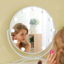 Makeup Vanity Mirror with Light Hollywood Style Touch Screen Cosmetic Mirror with Dimmable LED Bulbs 3 Color Lighting Round desktop touch lighting up touch screen magnifiying 3 folding adjustable beauty mirror makeup with led light mirror
