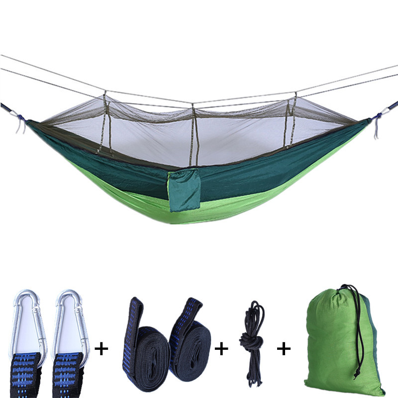 [Wolf E] Double Nylon Mosquito Net Hammock Outdoor Camping Swing Outdoor Portable Anti-mosquito Hammock
