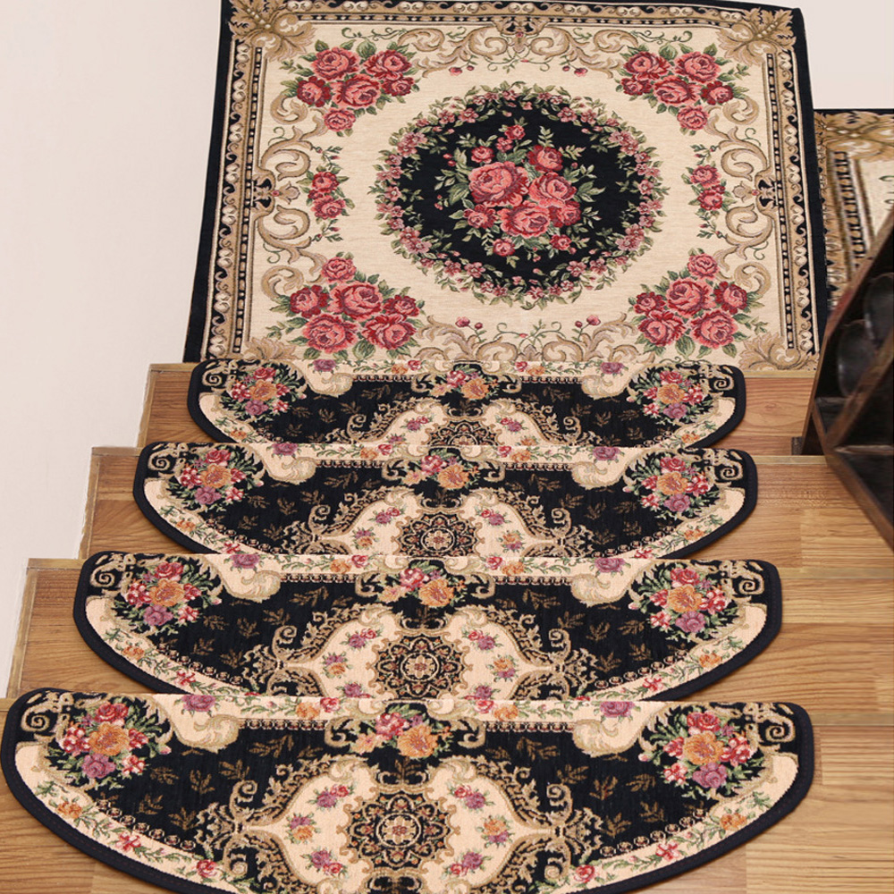 Stair Carpet Rugs Floral Antiskid Non-slip Stair Mat Step Rug Home Non-woven Classic Decoration Accessories Vintage European