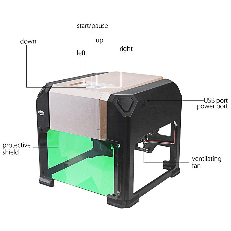 CNC Laser Engraving Machine Wood Router 3000MW DIY Mini Print Carving Lettering Cutter Machine 80 80mm Big Working Area Marking in Wood Routers from Tools