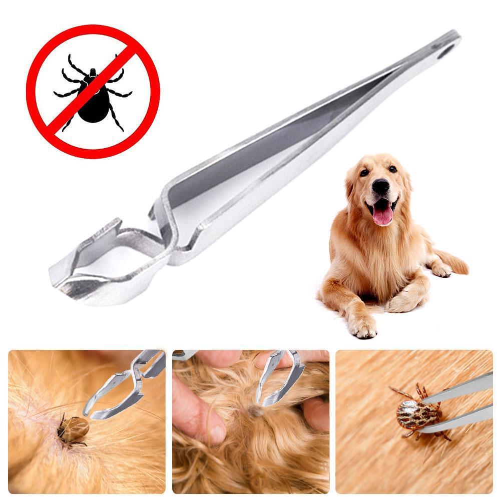 Stainless Steel Pet Tick Pet Flea Tweezers Double Head Dogs Cat Puppy Supplies Pet Dog Flea Remover Tick Removal Tool